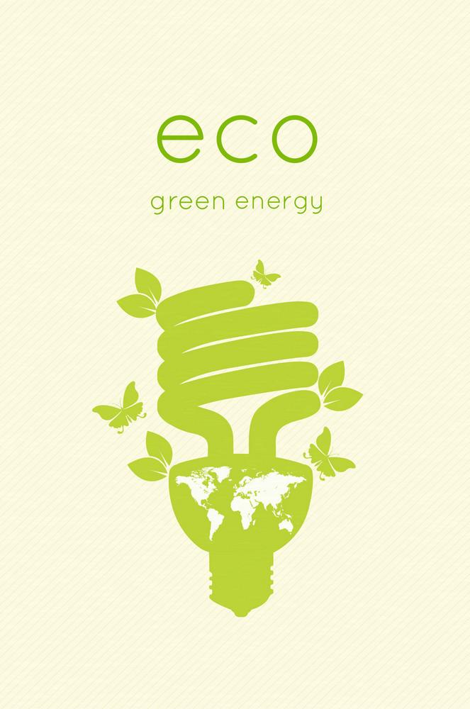 Eco Design With Light Bulb Vector Illustration