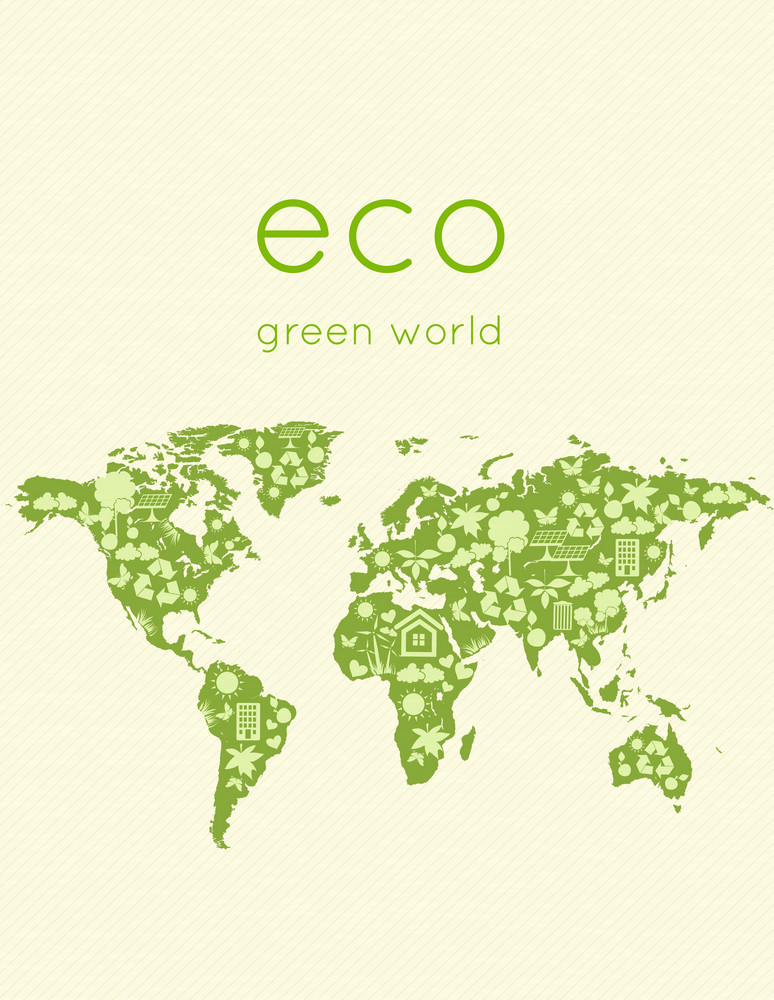 Eco Design With World Map Vector Illustration
