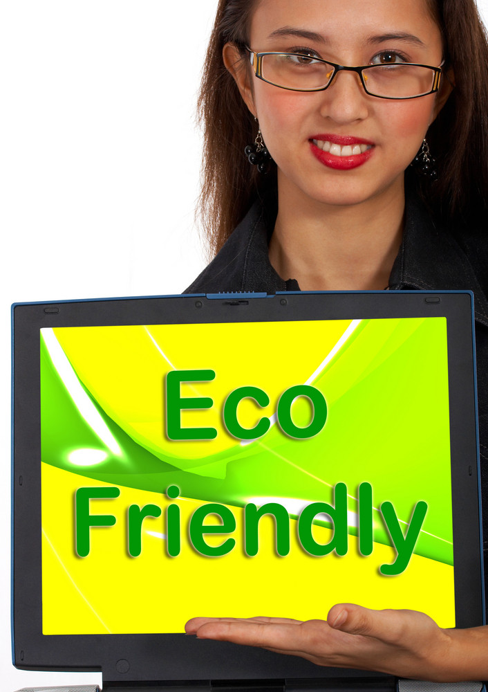 Eco Friendly Computer Message As Symbol For Recycling
