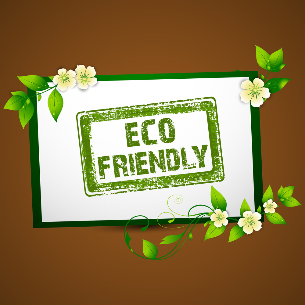 Eco Friendly Concept With Beauiful Flowers And Grungy Green Rubber Stamp On Brown Background.