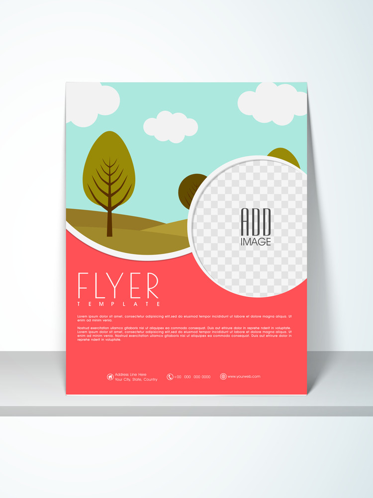 ecological flyer template or banner design with place holders for your image and content