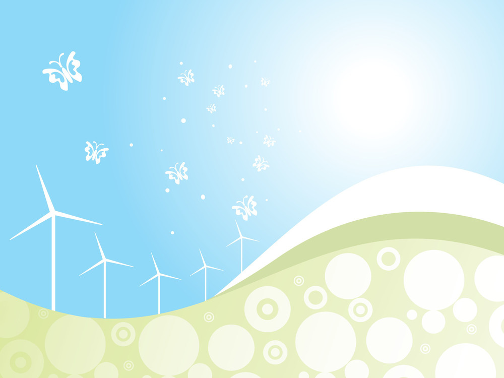Ecology Concept Wind Driven Generators With Solar Power Systems