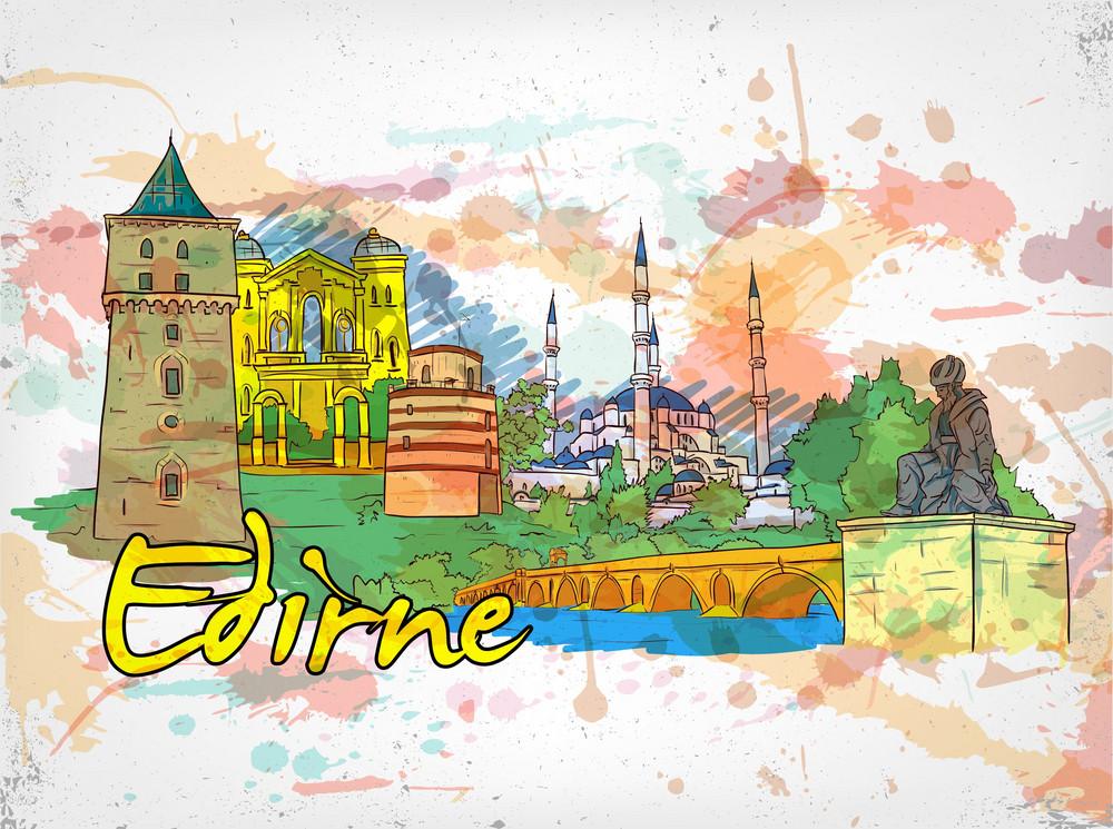 Edirne Doodles With Grunge Vector Illustration