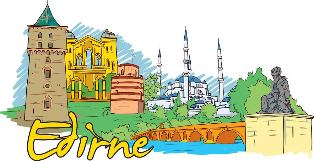 Edirne Vector Doodle