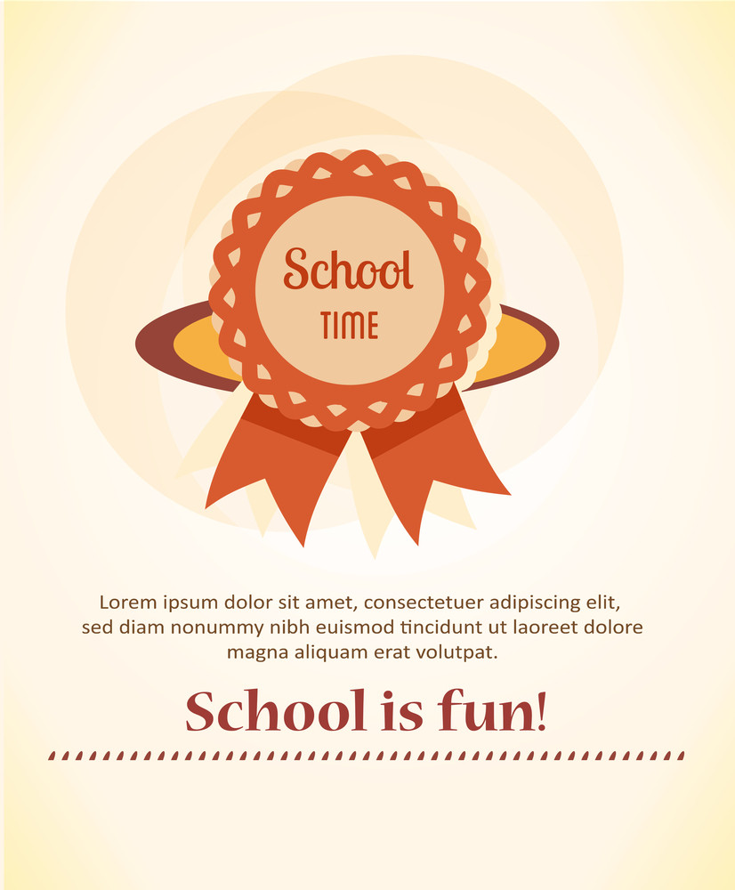Education Vector Illustration With Badge (editable Text)