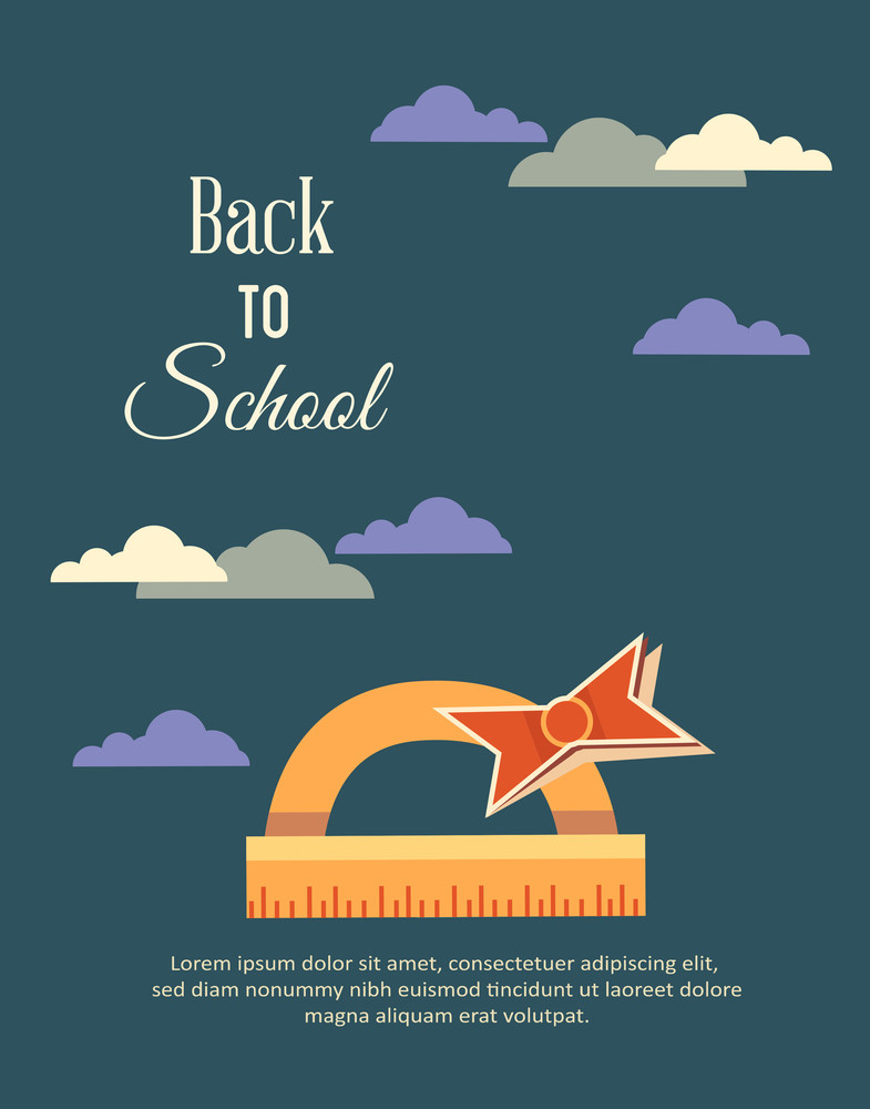 Education Vector Illustration With Clouds  And Ruler (editable Text)