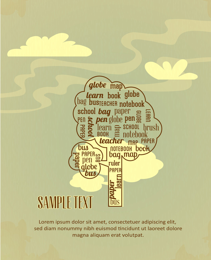 Education Vector Illustration With Clouds And Tree (editable Text)