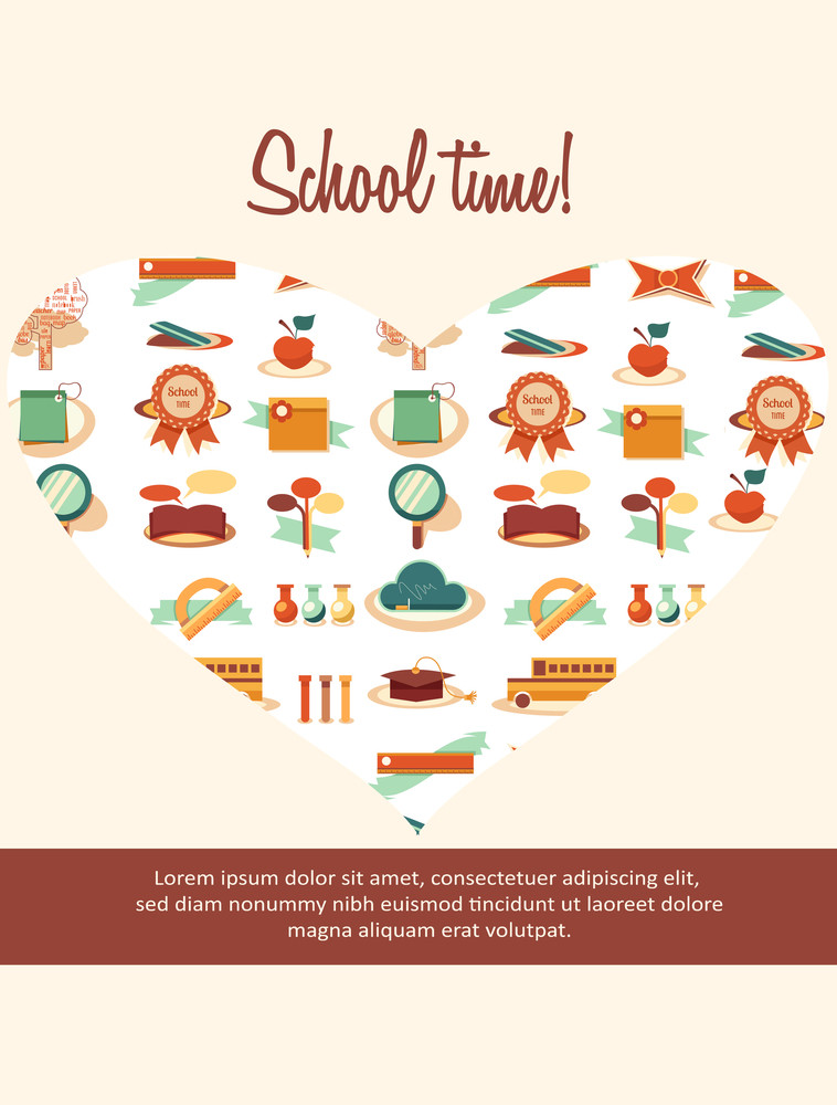 Education Vector Illustration With Heart (editable Text)