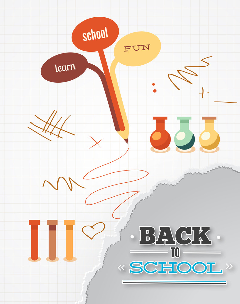 Education Vector Illustration With Pencil And Torn Paper (editable Text)