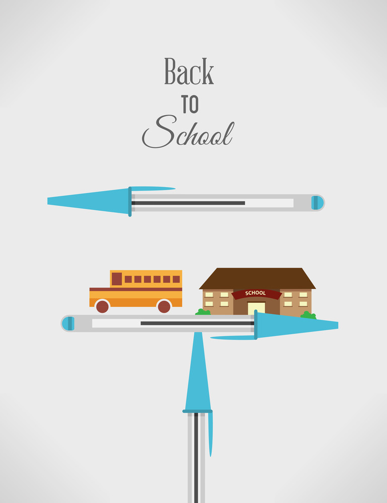 Education Vector Illustration With Pencil (editable Text)
