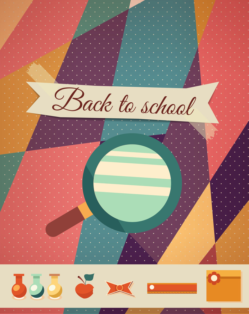 Education Vector Illustration With Ribbon And Magnifier (editable Text)