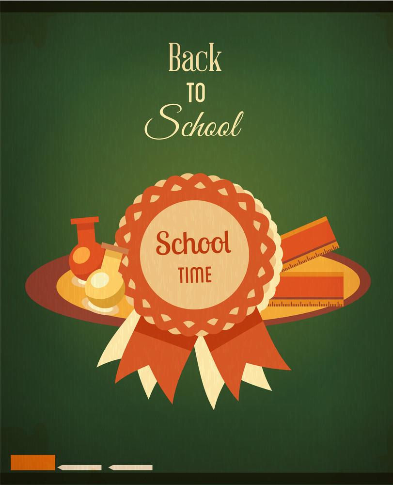 Education Vector Illustration With School Badge (editable Text)