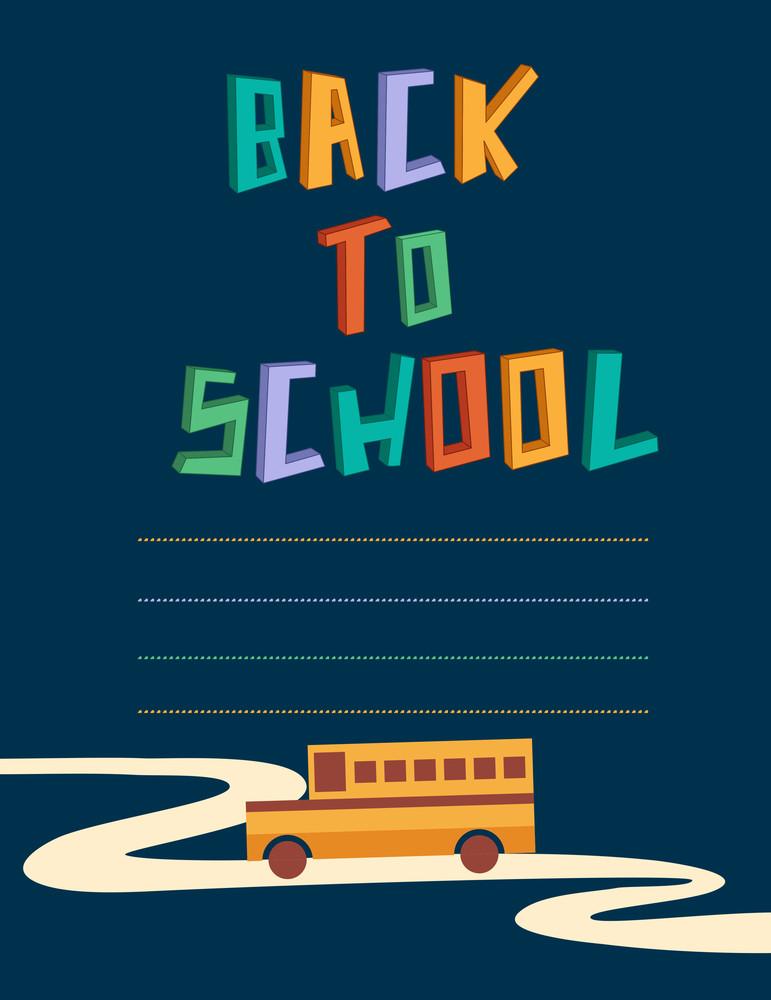 Education Vector Illustration With School Bus (editable Text)
