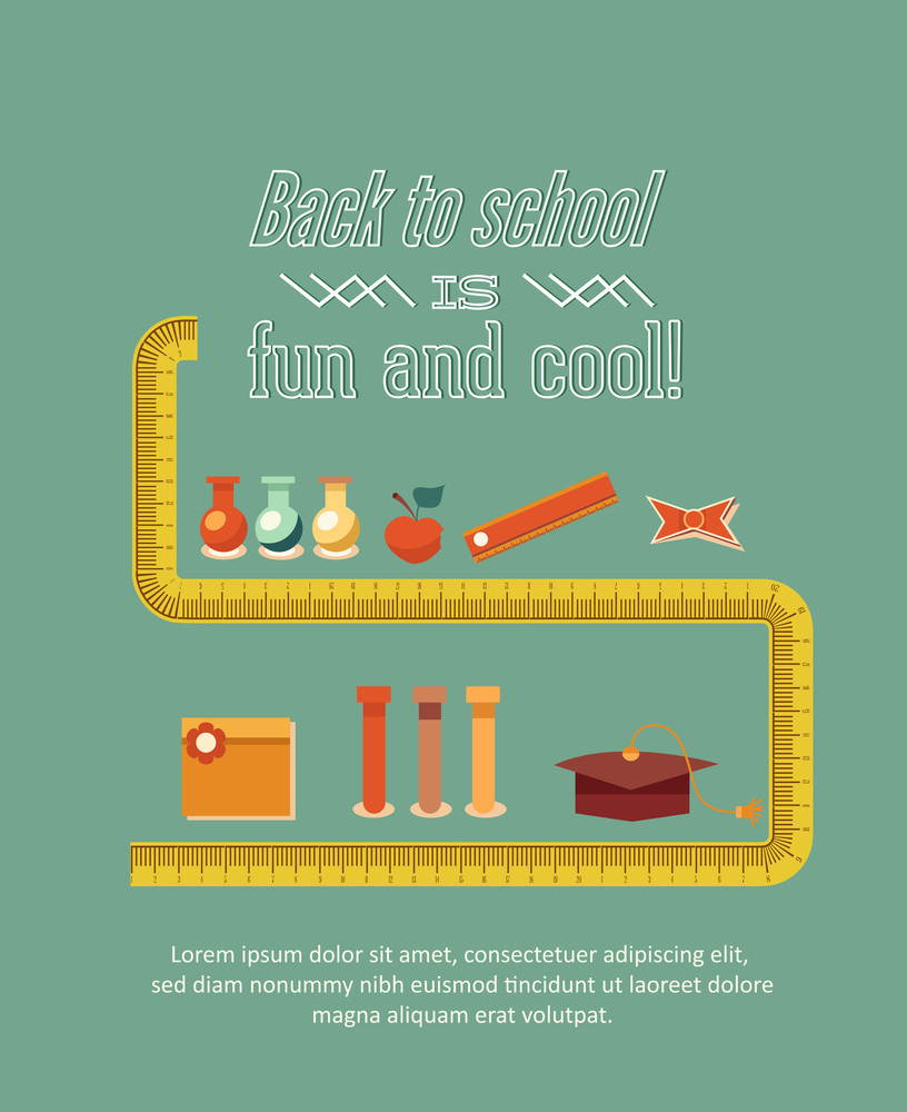 Education Vector Illustration With School Elements (editable Text)