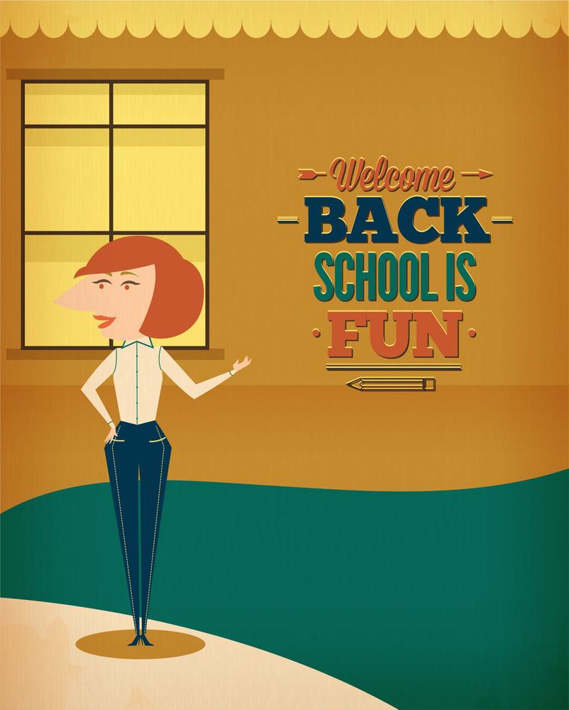 Education Vector Illustration With School Teacher (editable Text)