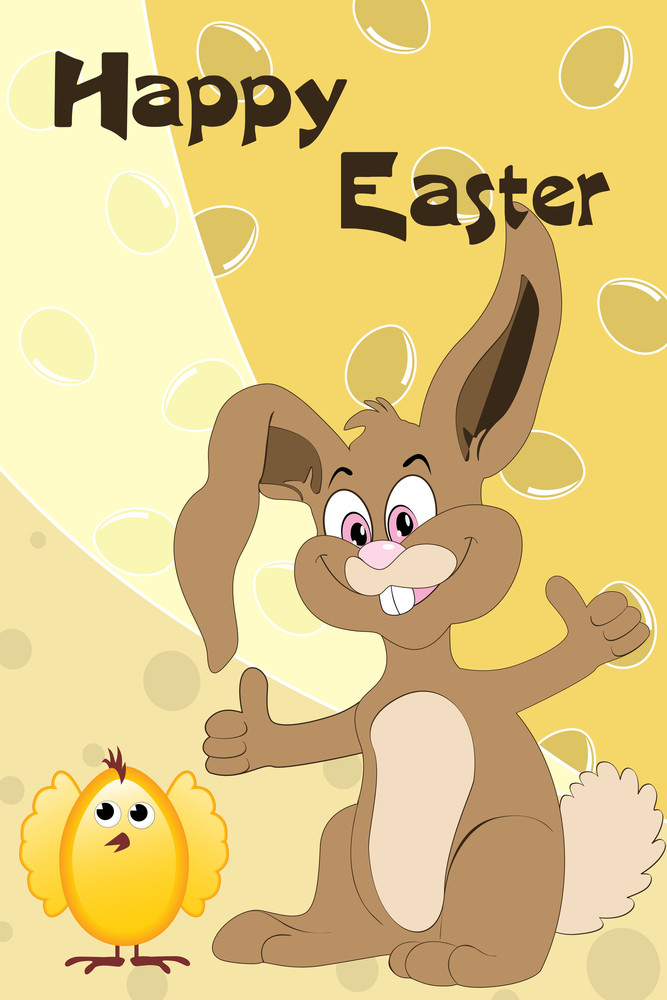 Egg Background With Cute Rabbit