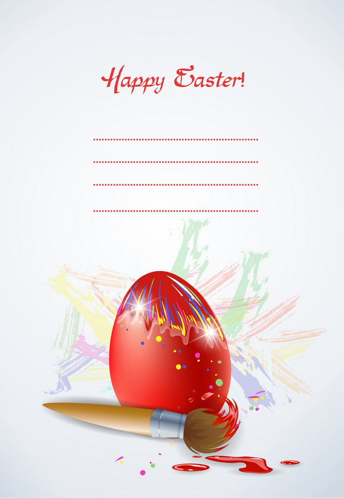 Egg With Brush Vector Illustration