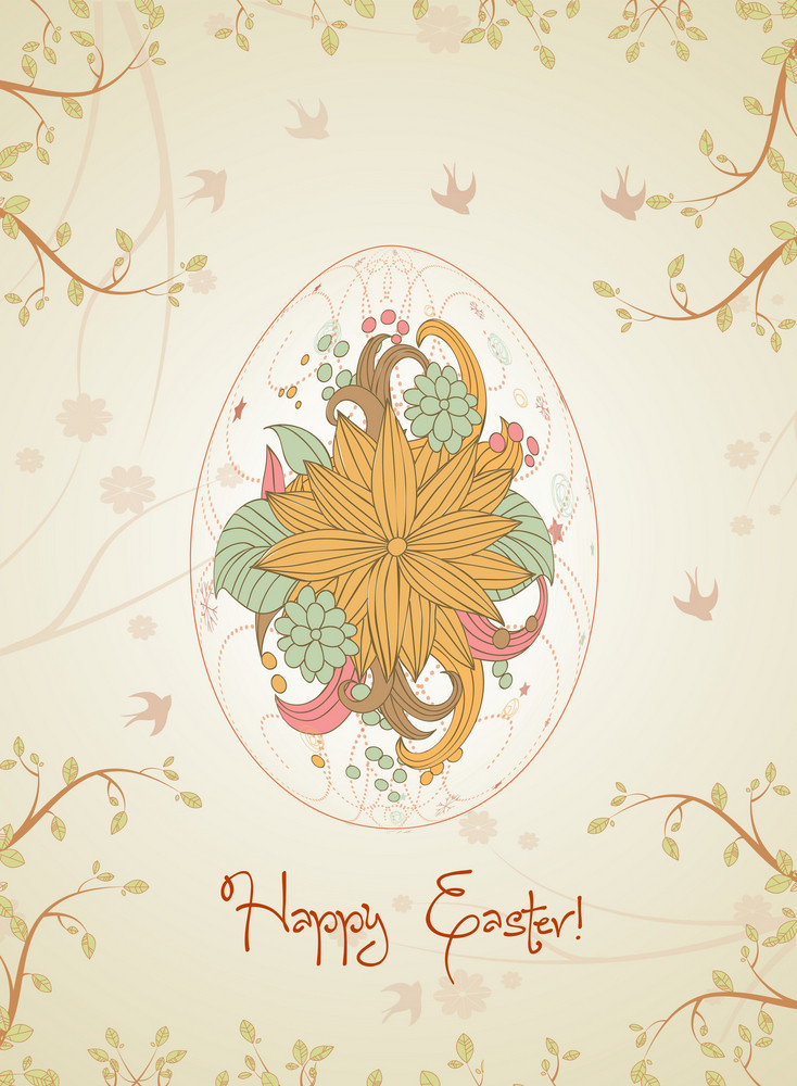 Egg With Floral Vector Illustration