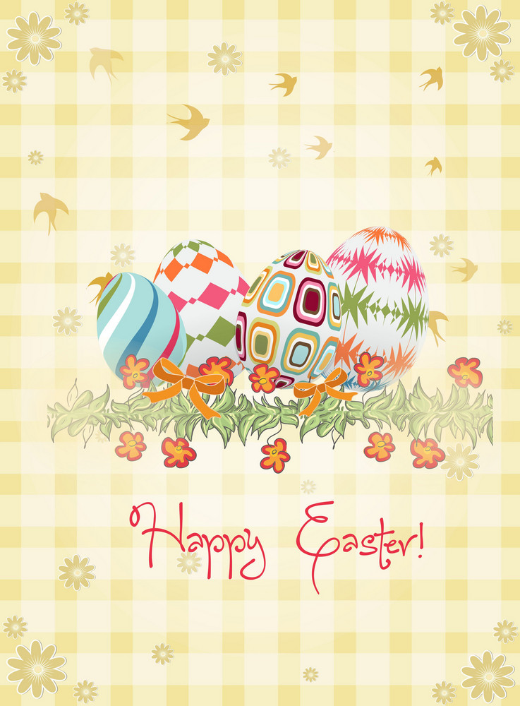 Eggs With Floral Vector Illustration