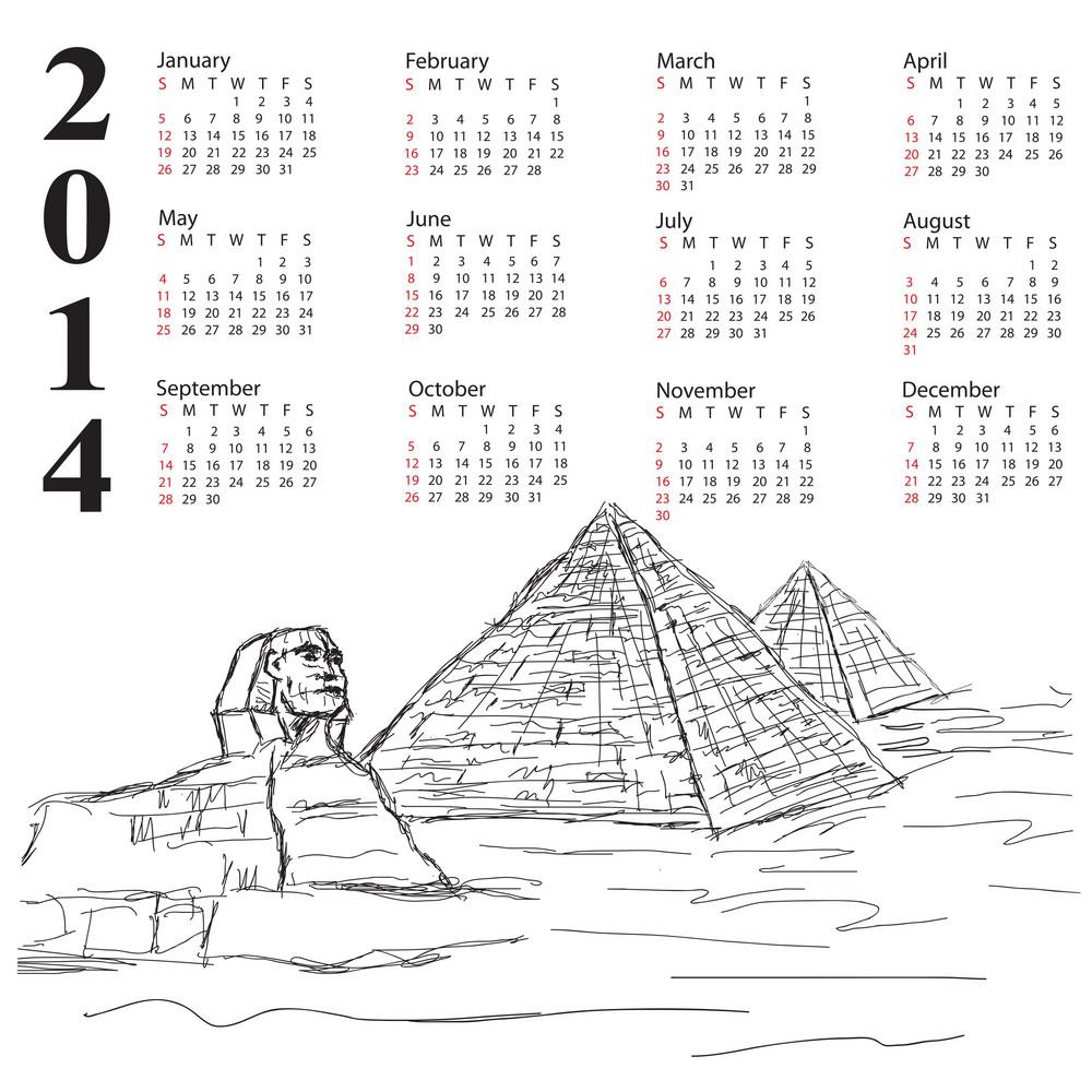 Egypt Pyramid Vintage 2014 Calendar 2