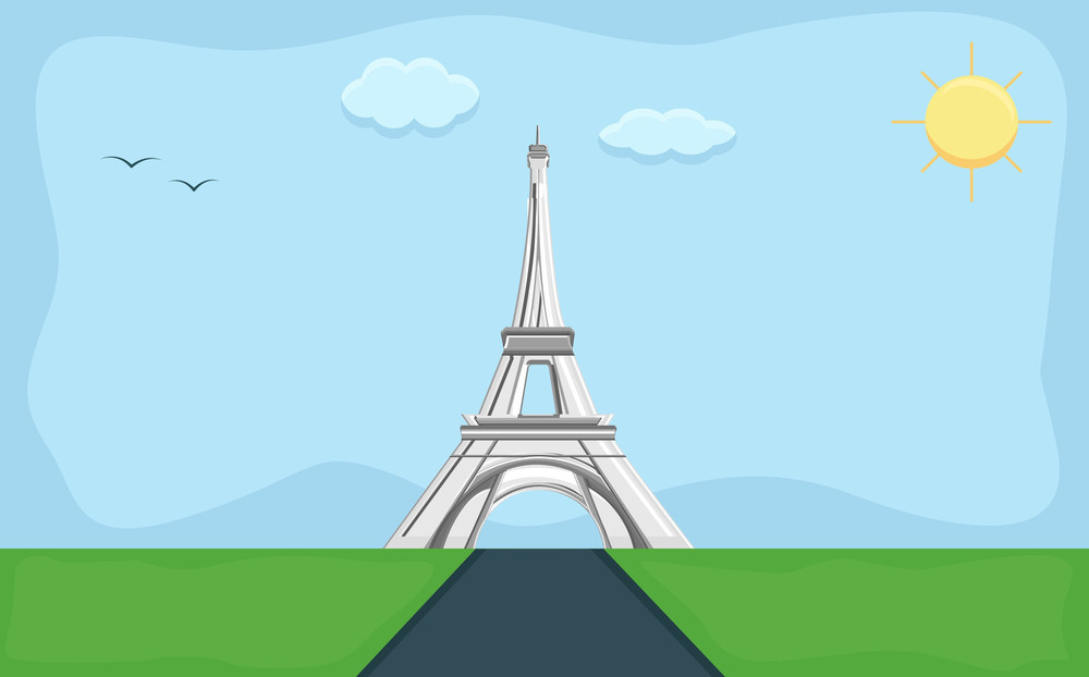 Eiffel Tower - Cartoon Background Vector
