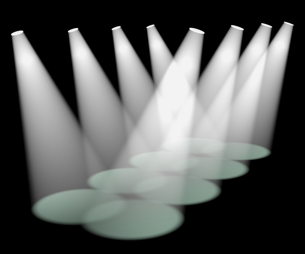 Eight White Spotlights In A Row On Stage For Highlighting Products