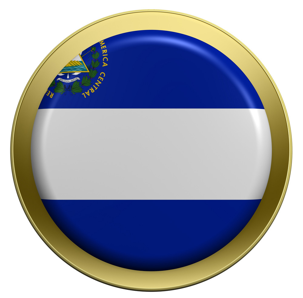 El Salvador Flag On The Round Button Isolated On White.