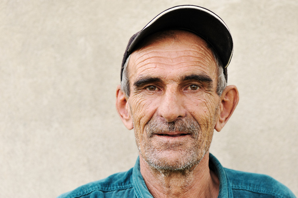 Elderly, old, mature man with hat, portrait