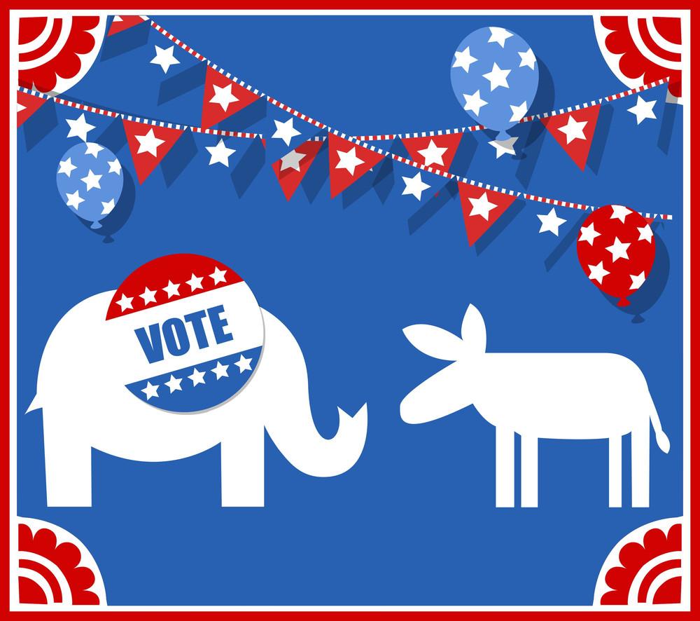 Election Day Symbol - Elephant And Donkey Vector Illustration
