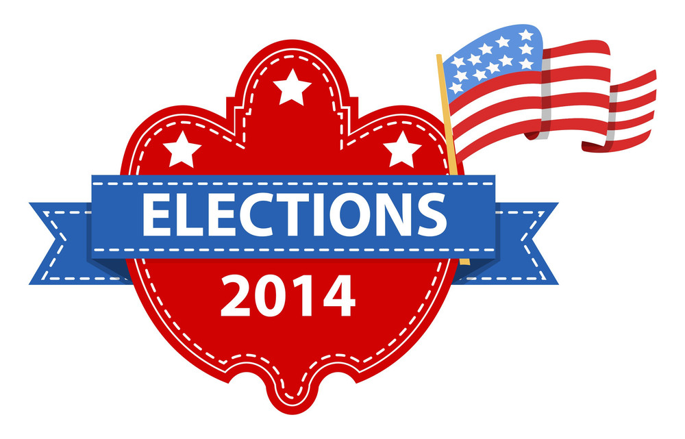 Election Day Vector Label With Us Flag