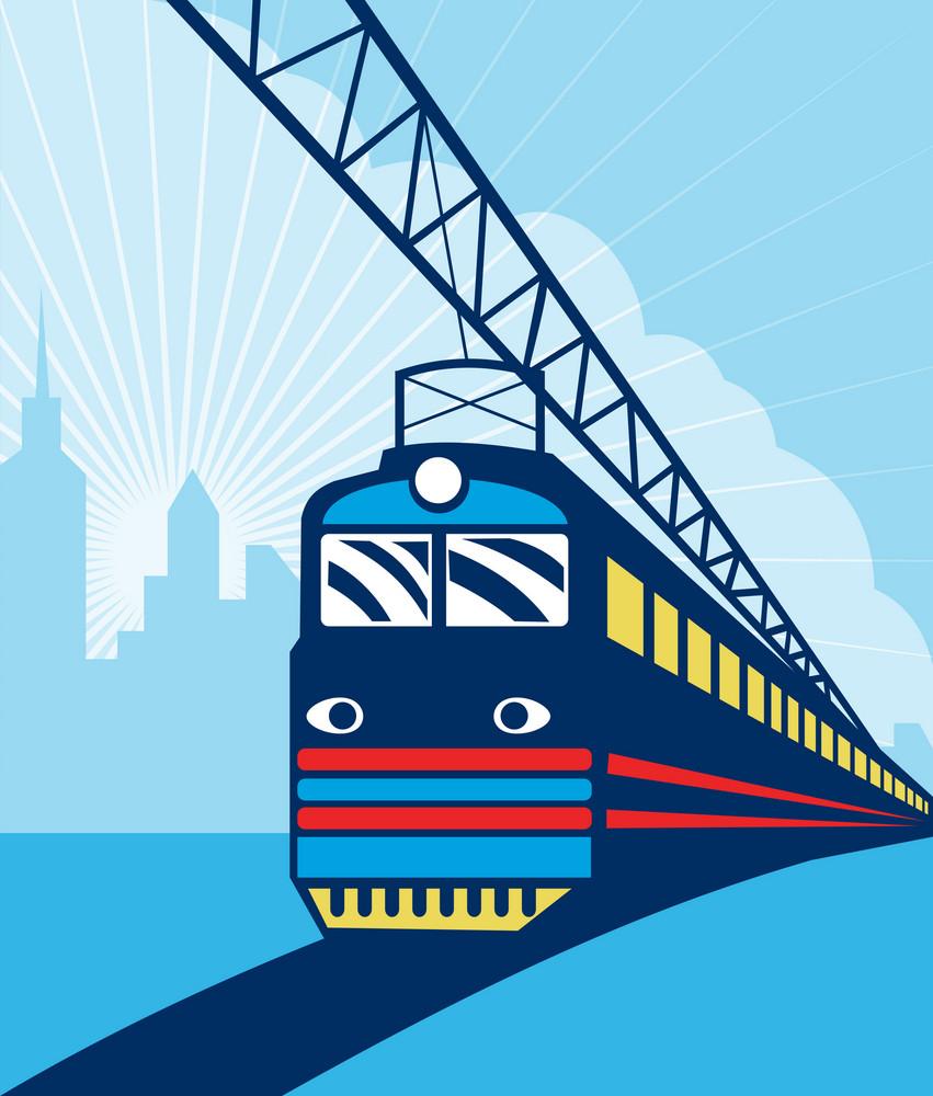 Electric Passenger Train City Skyline