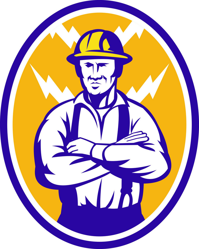 Electrician Construction Worker Lightning Bolt
