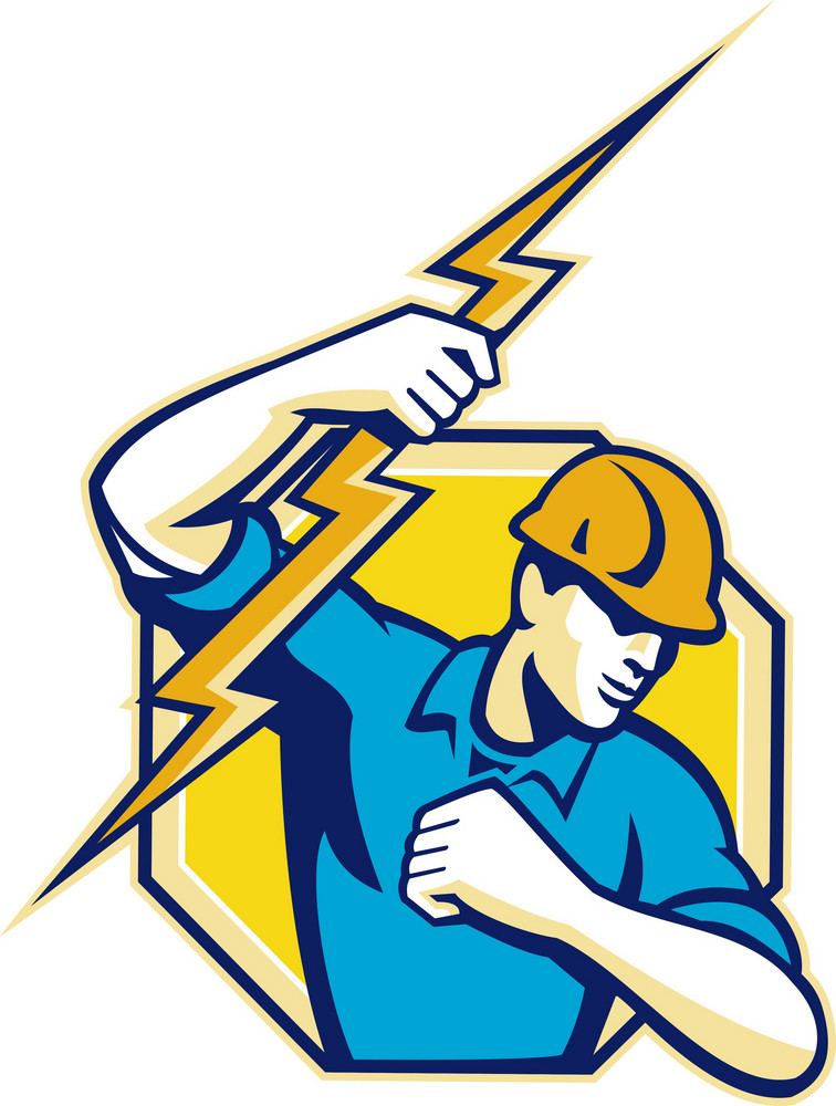 Electrician Construction Worker Retro