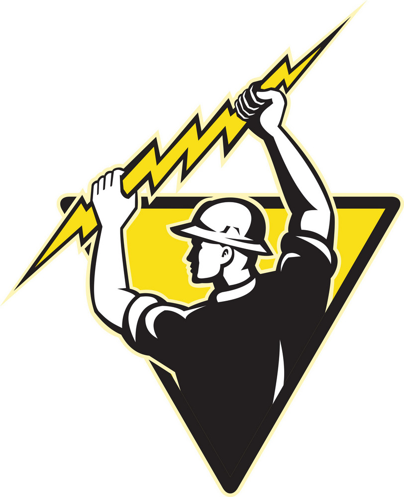 Electrician Power Lineman Holding Lighting Bolt