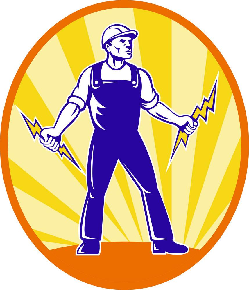 Electrician Repairman Holding Lightning Bolt