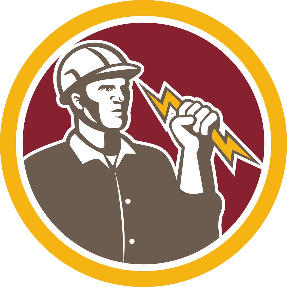 Electrician Wielding Lightning Bolt Circle Retro