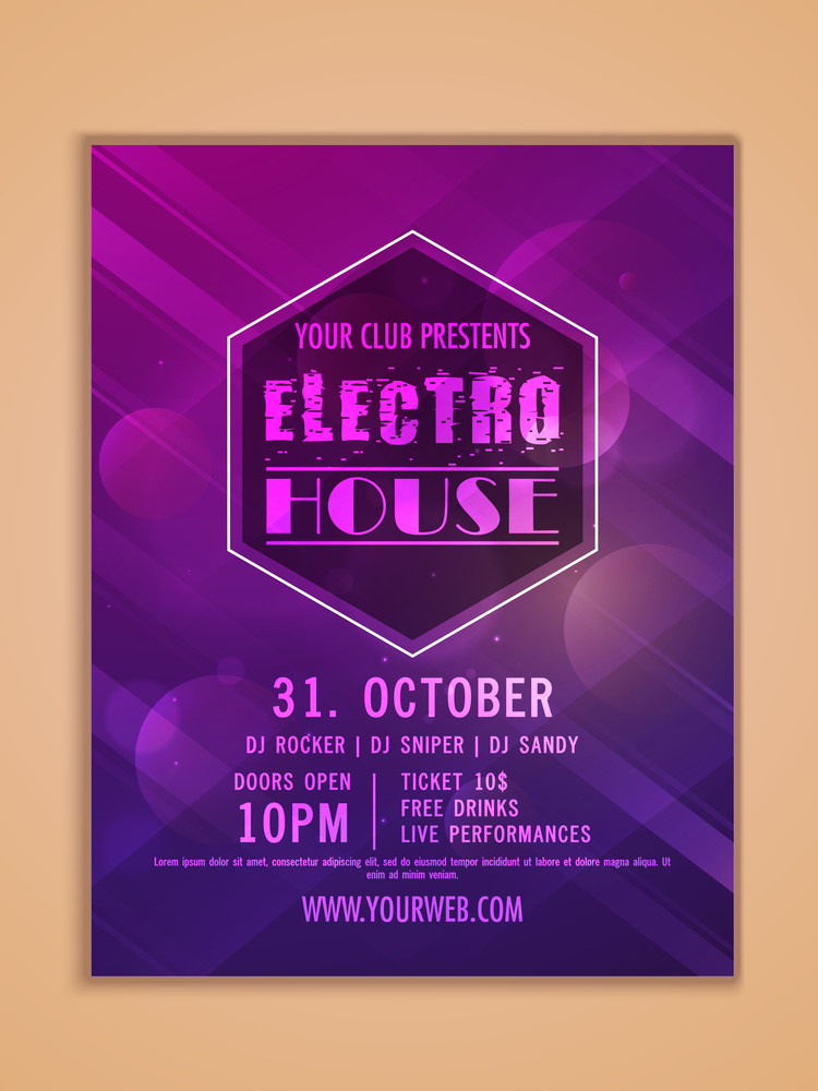 Electro Night Party celebration one page Flyer