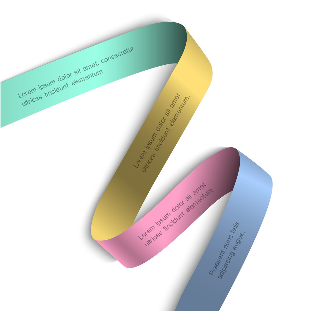 Elegant Colorful Ribbon Banner With Shadow