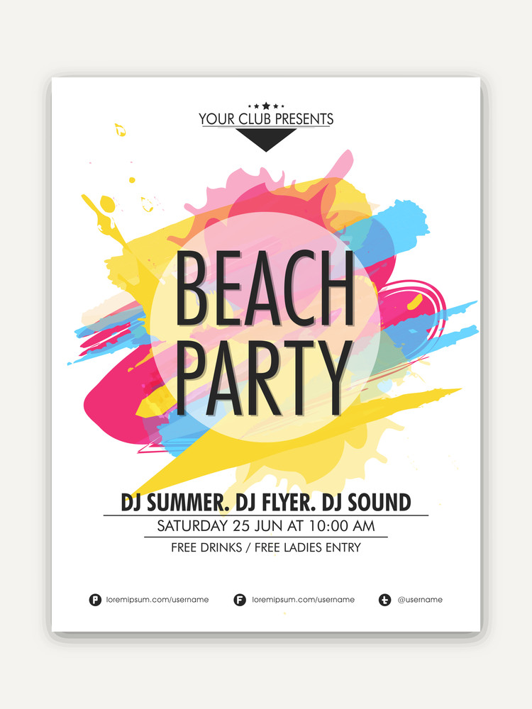 Elegant one page Flyer Banner or Template design with colorful splash for Beach Party celebration.