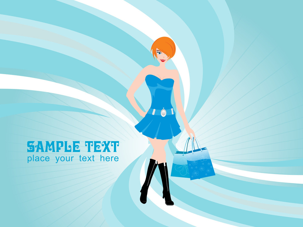Elegant Woman At Shopping Abstract Background