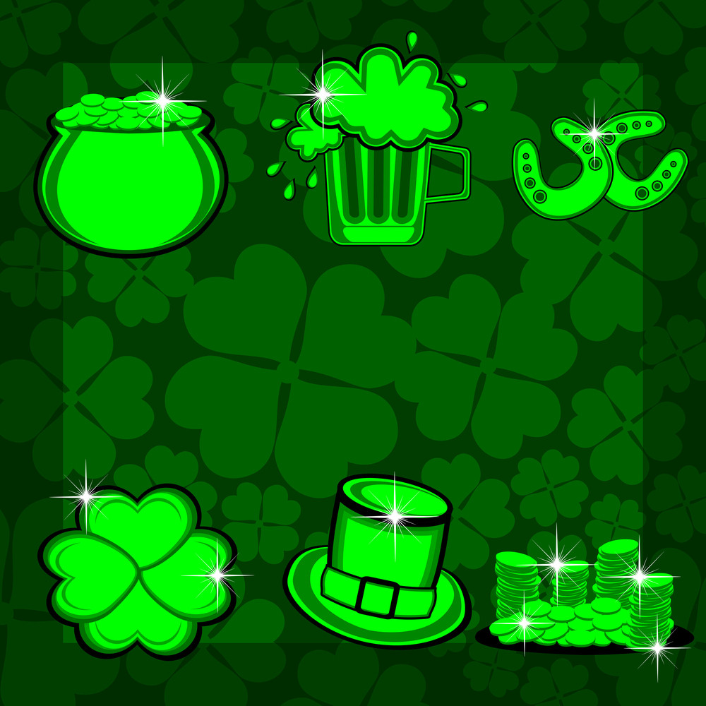 Element Set With Bright Colors For St. Patrick's Day. Vector