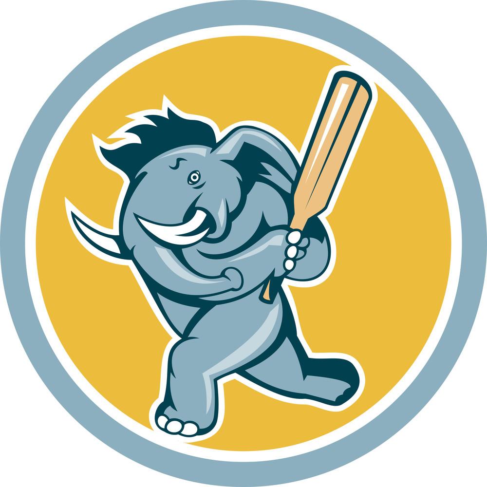 Elephant Batting Cricket Bat Cartoon