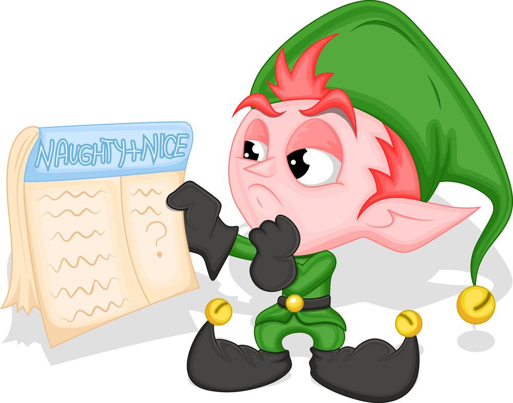 Elf Holding Naughty And Nice List - Christmas Vector Illustration