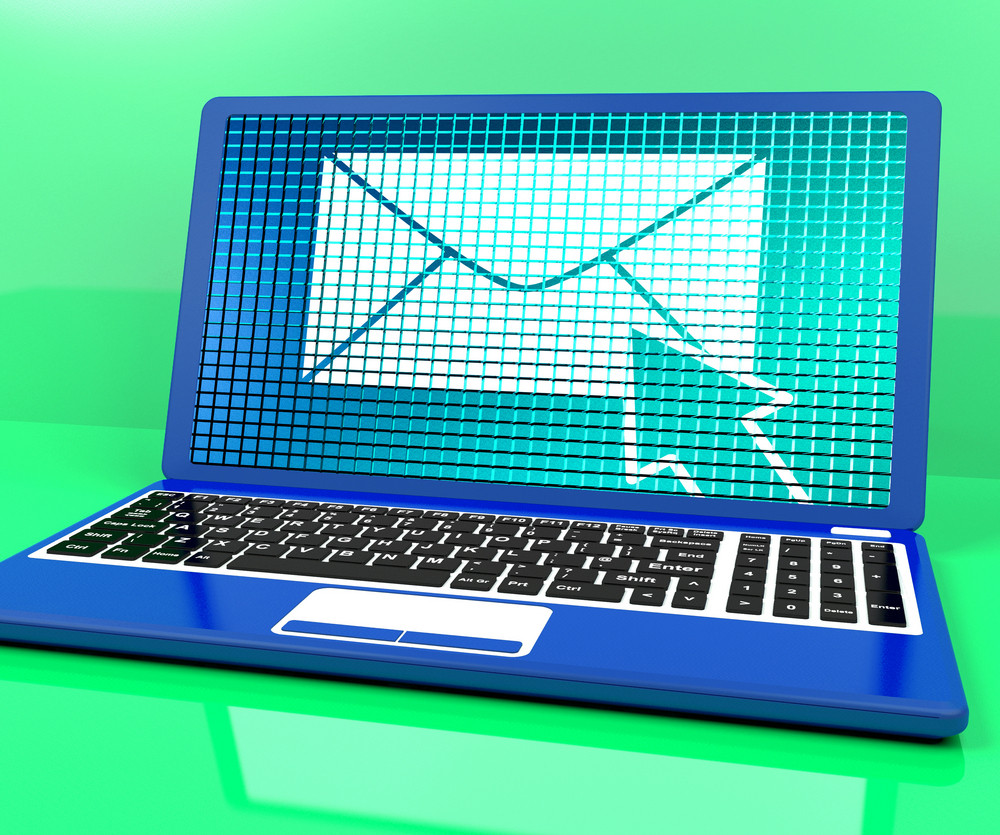 Email Icon On Laptop Showing Emailing Or Contacting
