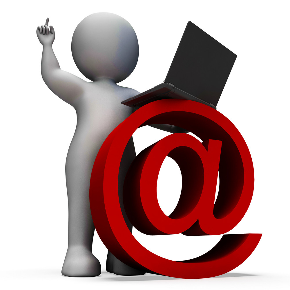 Email Sign And Laptop Showing Correspondence