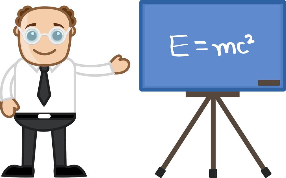 E=mc2 Man Teaching - Business Cartoons Vectors