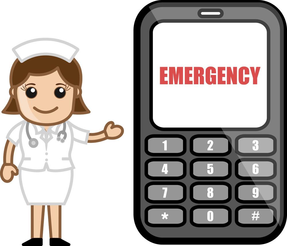 Emergency Call - Medical Cartoon Vector Character