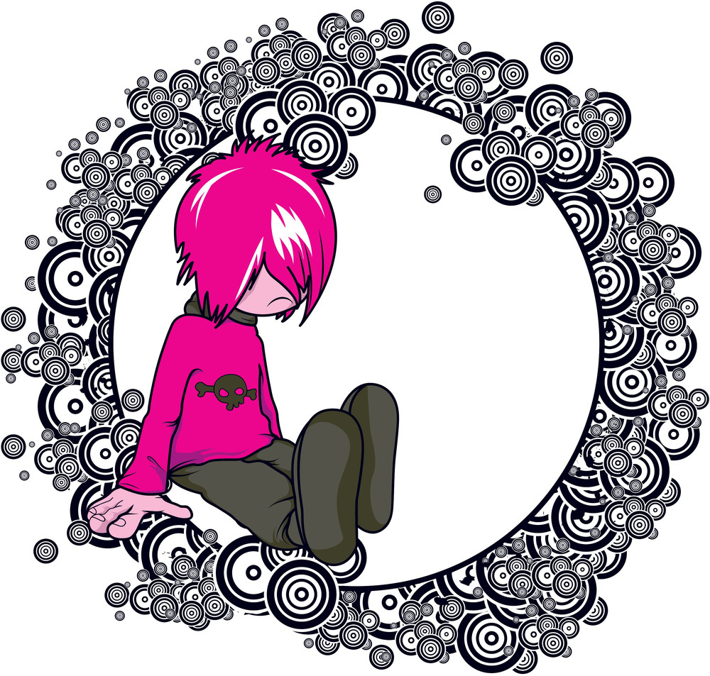 Emo Kid With Circles Vector T-shirt Design