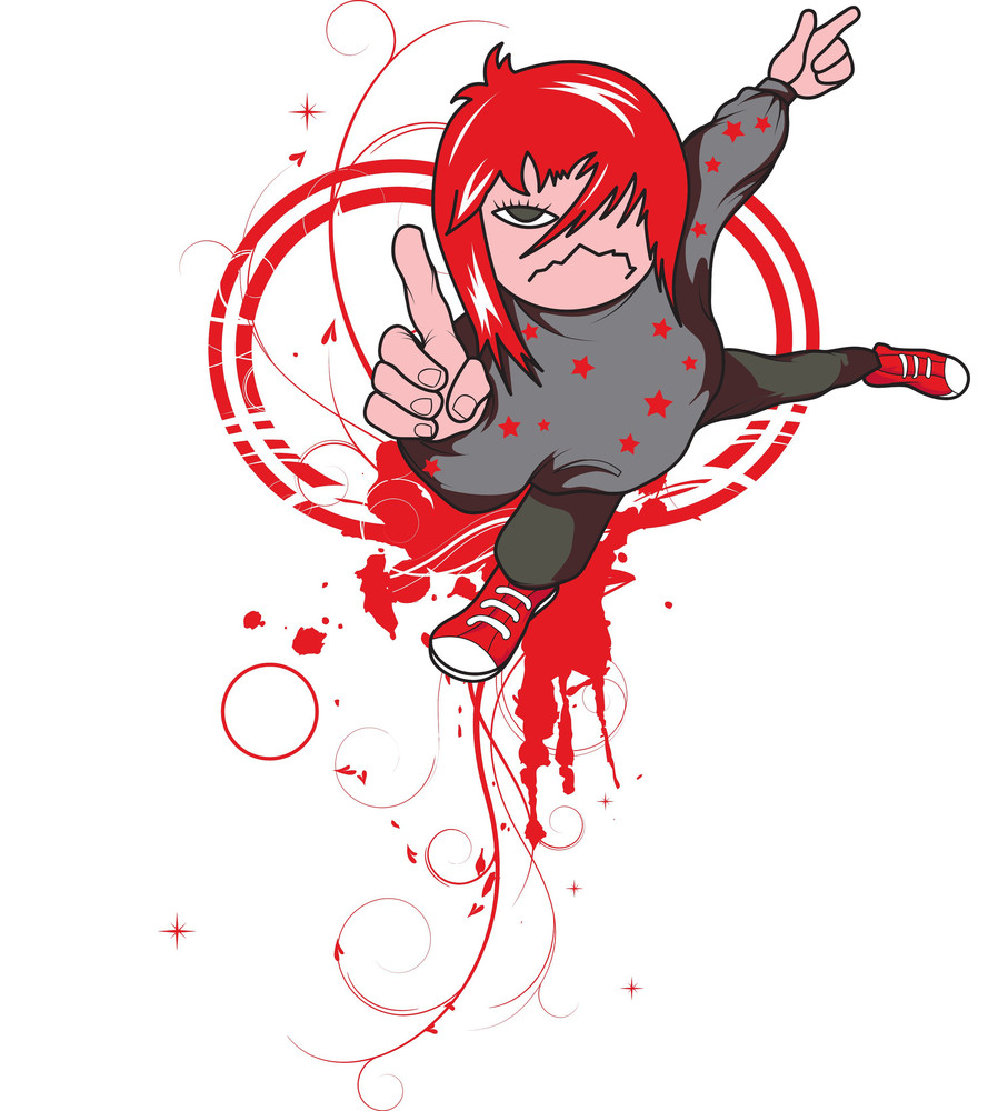 Emo Kid With Grunge Vector T-shirt Design