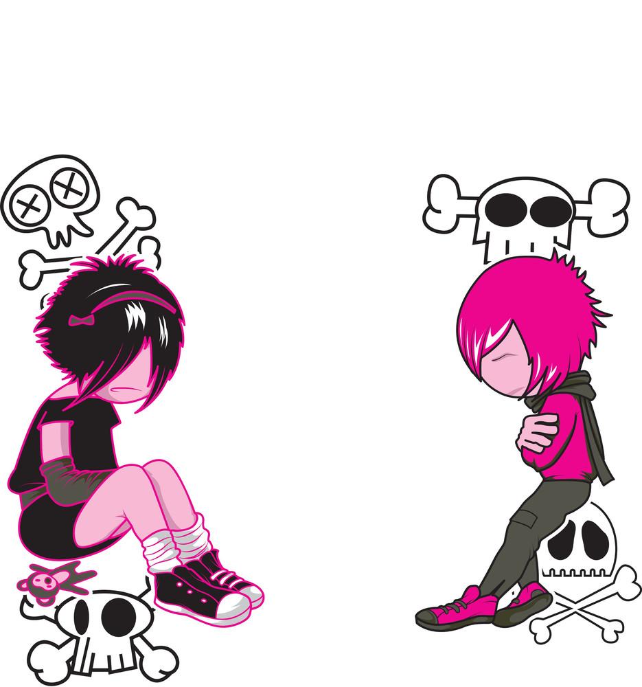 Emo Kids With Grunge Vector T-shirt Design